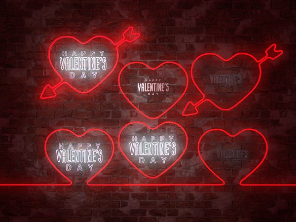 neon hearts pack1 pack 3D