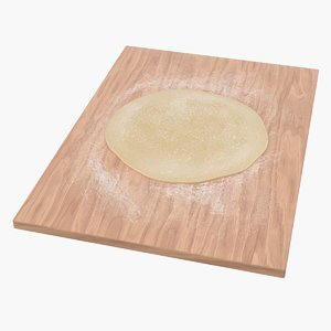 3D flat bread pizza dough model