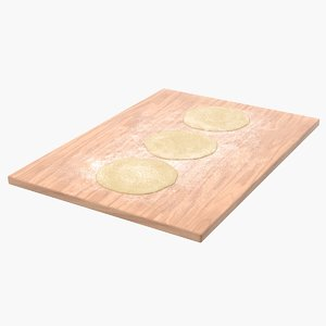 3D model crust pizza dough wooden board