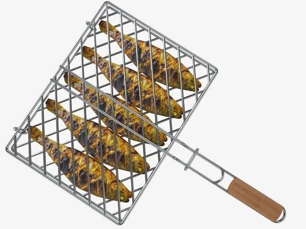 3D barbecue fish grill