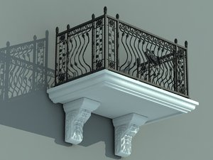 3D architectural balcony