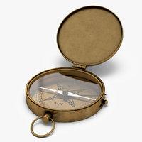 3D antique pocket brass compass old