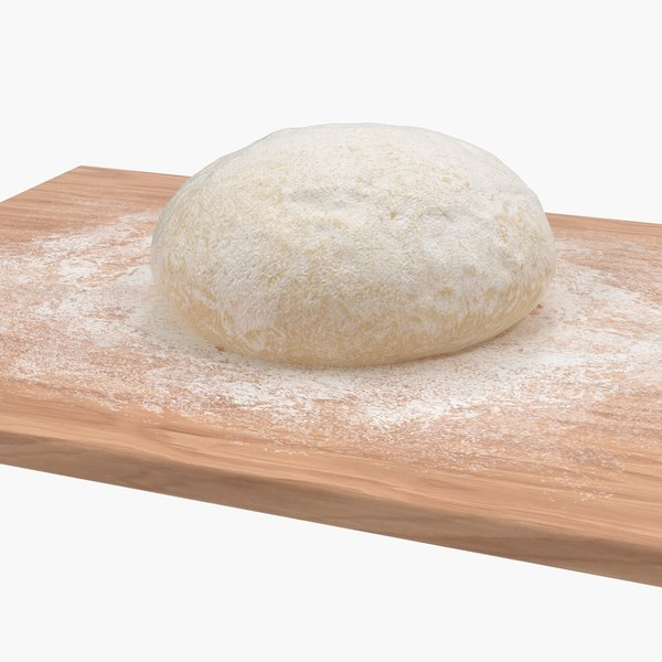 fresh raw dough wooden board 3D model