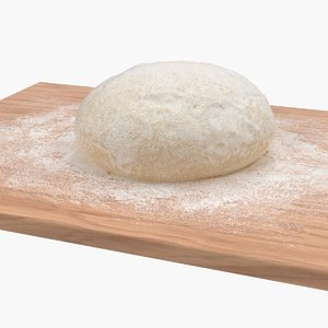 fresh raw dough wooden board 3D model