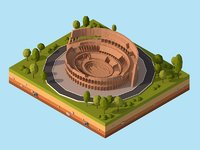 Cartoon Low Poly Rome Coloseum Landmark