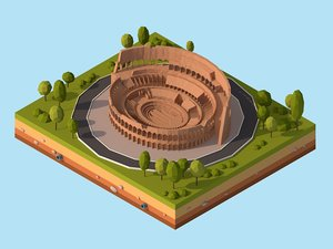 cartoon rome coloseum landmark 3D model