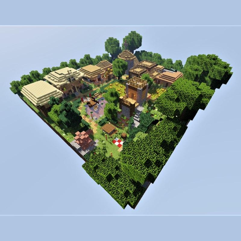 3D village minecraft medieval