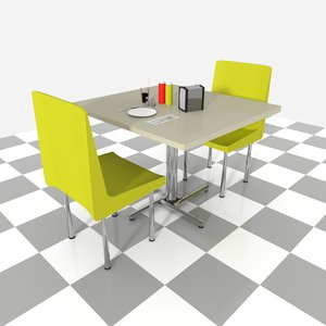 3D booth set dinner table