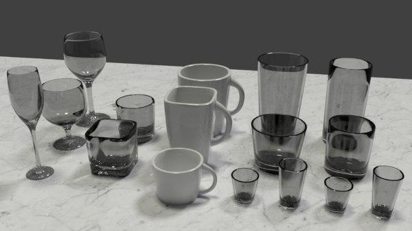 modern glassware glasses 3D model
