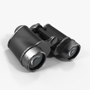 old metal military binoculars 3D model