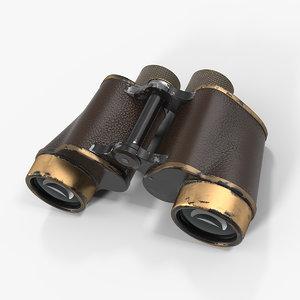 3D vintage brass military binoculars