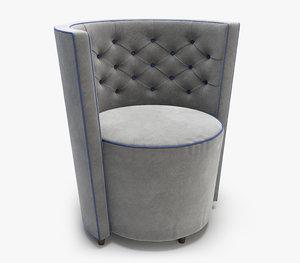 linley chesterfield tub chair 3D