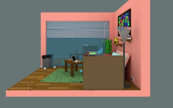 small orthographic room 3D model