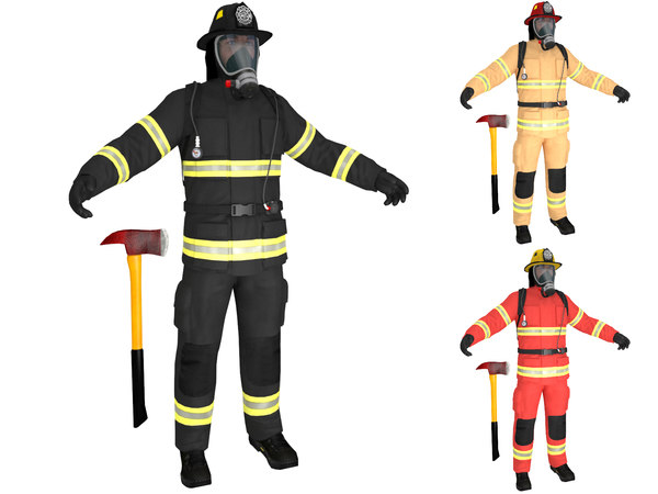 3D firefighter ready man model