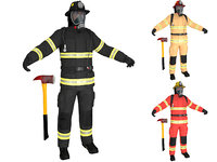 3D firefighter ready man model