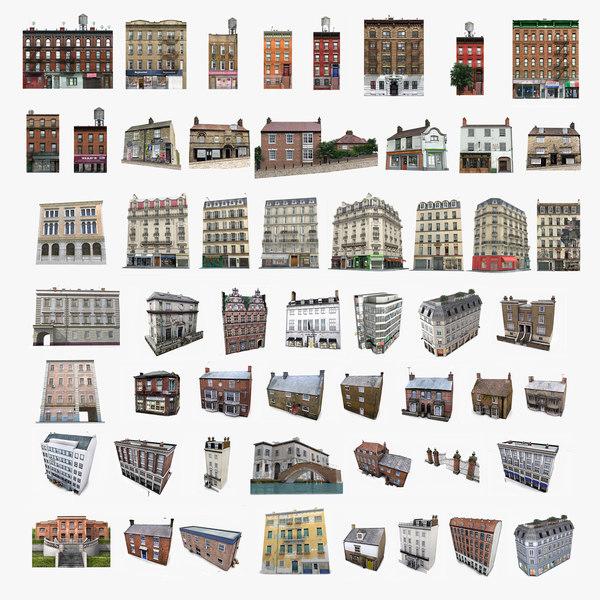 3D photorealistic european buildings set