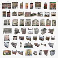 3D photorealistic european buildings set