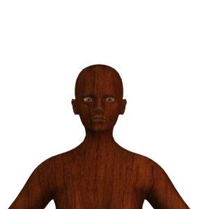 3D rigged wood female