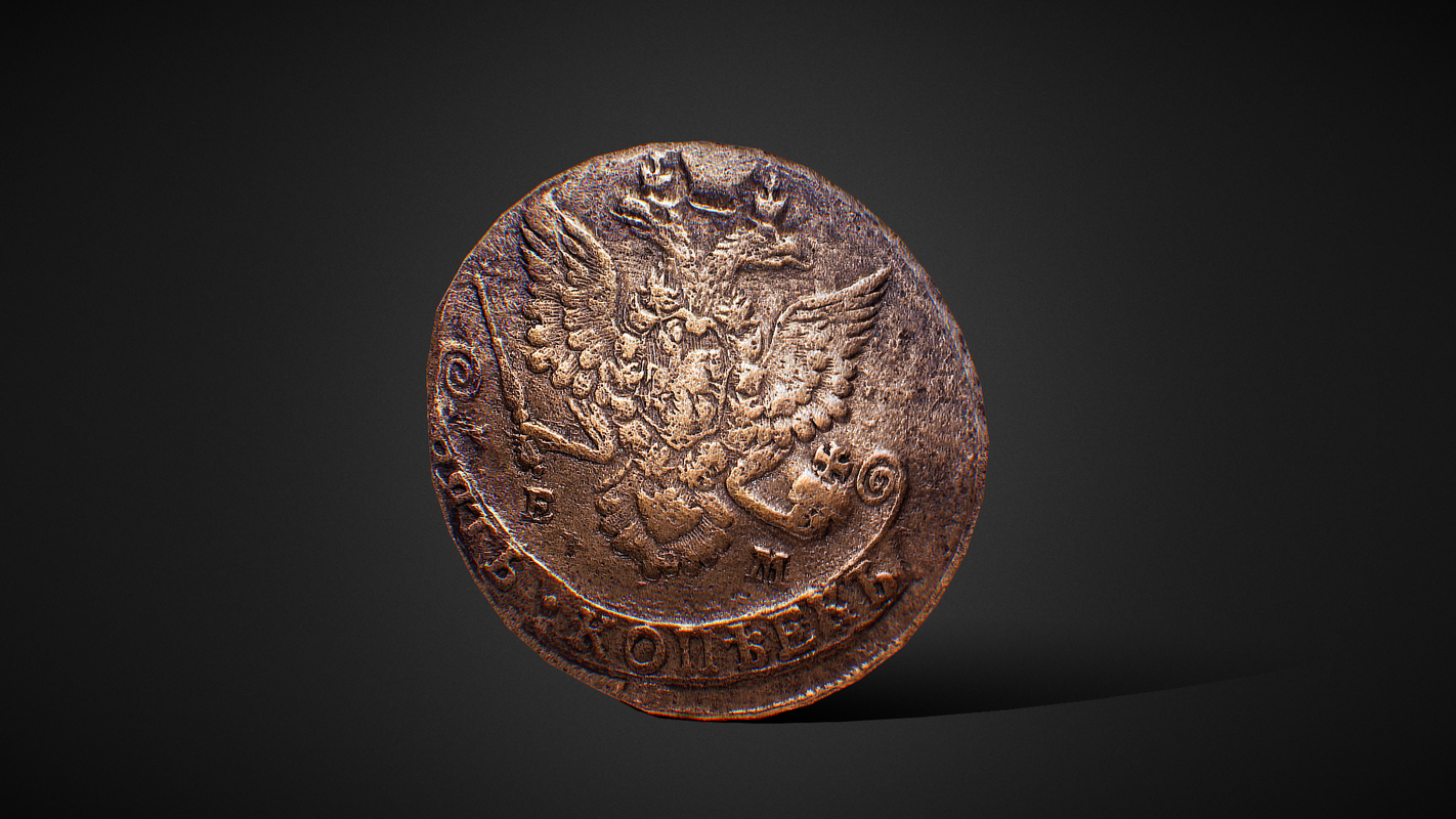 russian ancient coin 1783 3D model