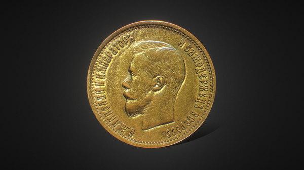 3D model russian ancient coin 1899