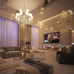 3D living dining room model