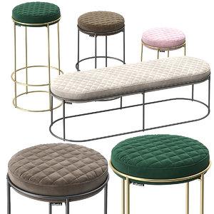 calligaris atollo stools pouf 3D