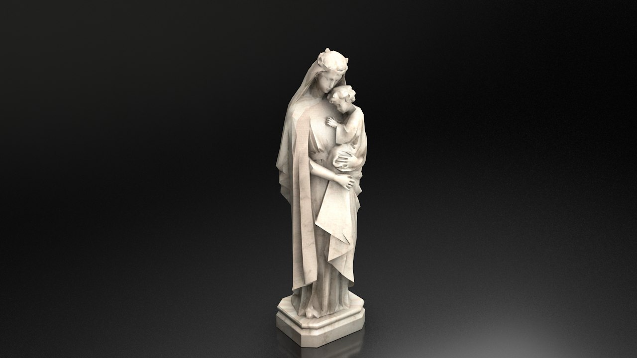 statue virgin mary jesus 3D model