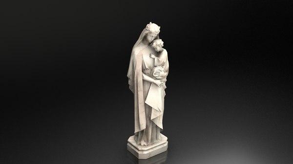 statue virgin mary jesus 3D model