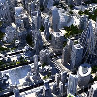 future futuristic architectural 3D model