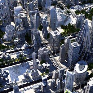 future futuristic architectural 3D model