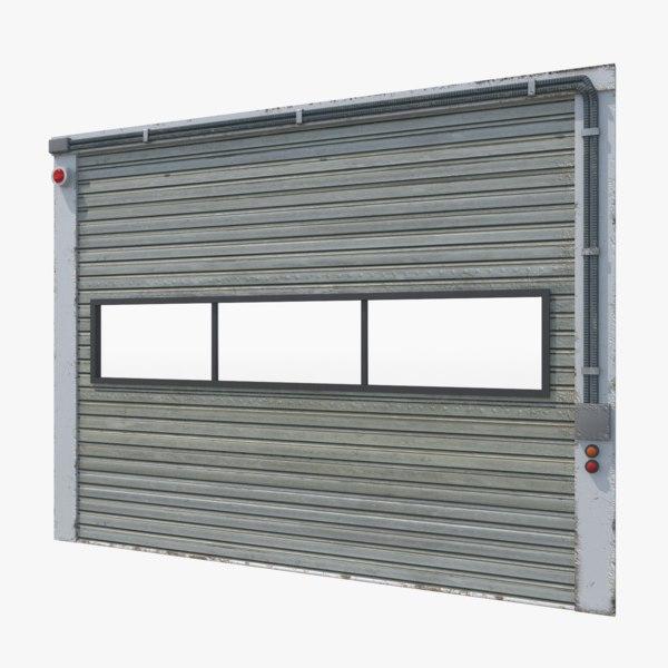 3D model open industrial door