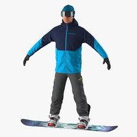 3D snowboarder board mountain snow model