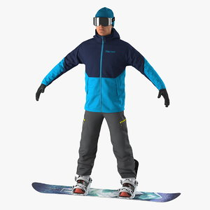 3D snowboarder board mountain snow model