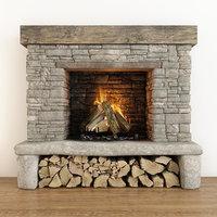 3D fireplace stone model