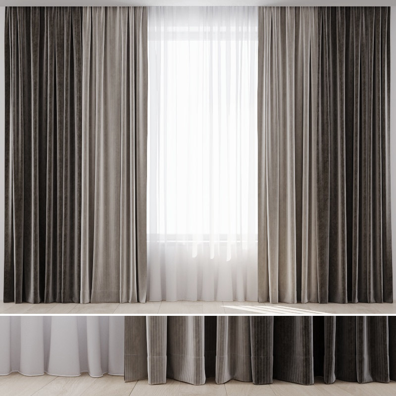 curtain fabric draperies 3D model
