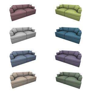 3D double seat sofa subdividable model