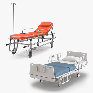 hospital bed trolley 3D model