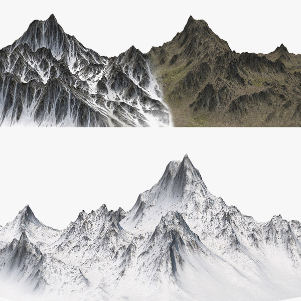 mountains snow rocks 3D