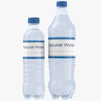 3D model real water bottles