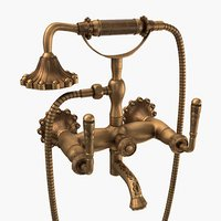 brushed antique brass faucet 3D model