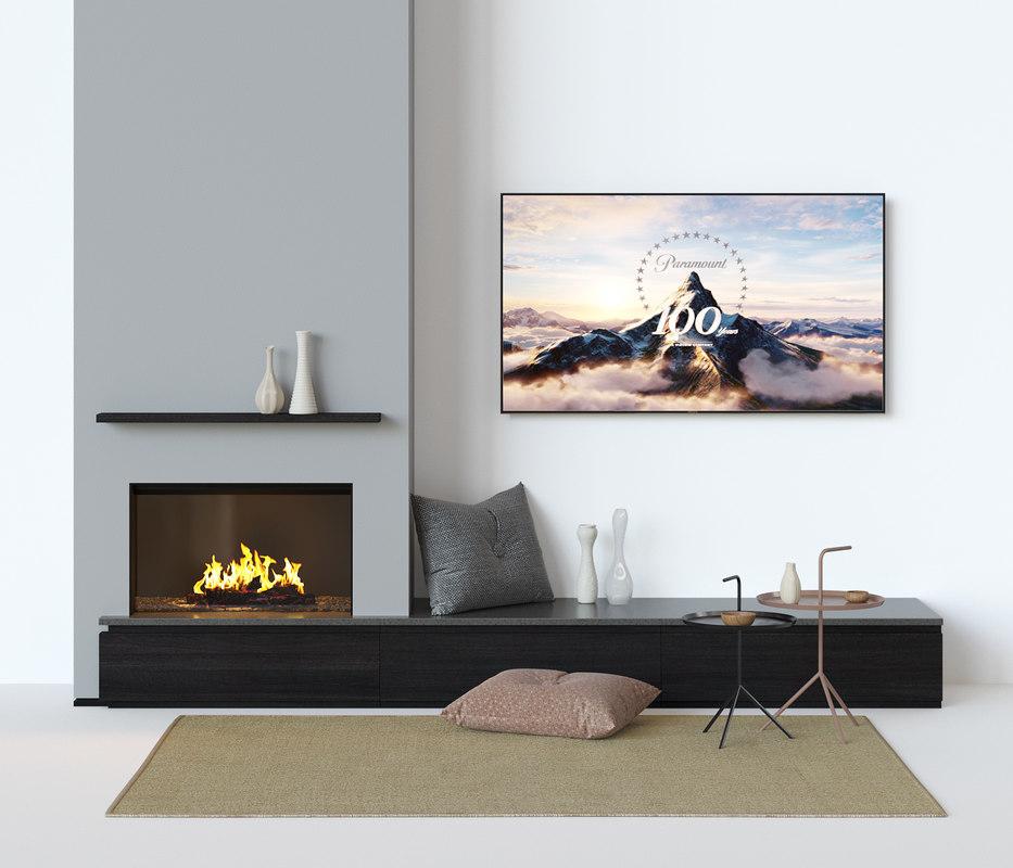 interior set fireplace 3D