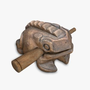 indonesian croaking wooden frog model
