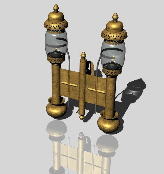 vintage railroad candle lamp 3D model