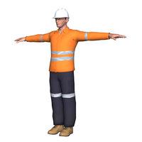 mining construction worker 3D model