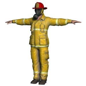 firefighter fighter man 3D model