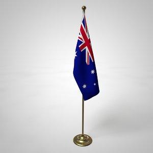 australia flag pole 3D model