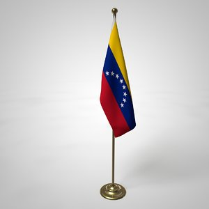 3D venezuela flag pole