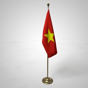 3D vietnam flag pole