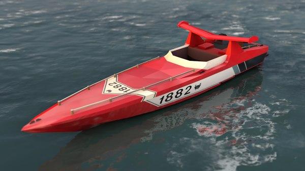 3D offshore motorboat