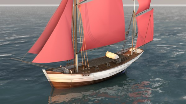 3D traditional sailboat model